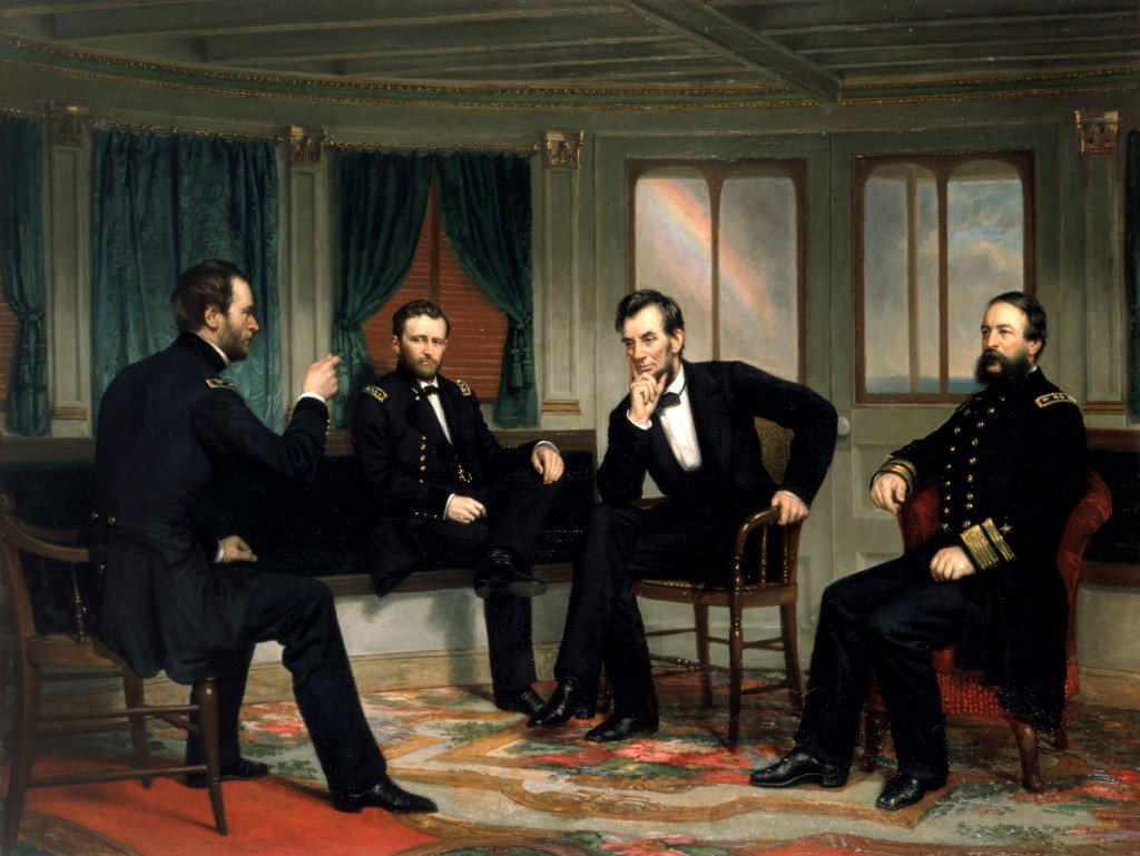 Abraham Lincoln in meeting