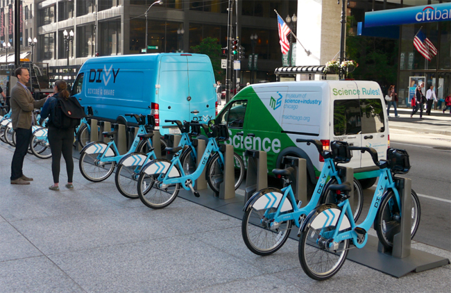 Divvy Bikes are available to use all over Chi town