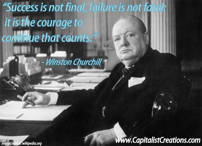 Never quit quote from Winston Churchill