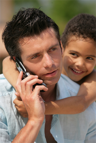 father on phone