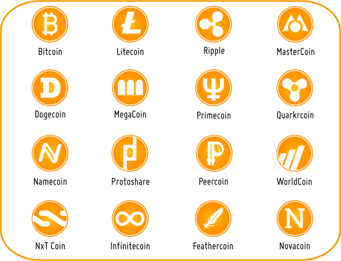 several different types of crypto currencies