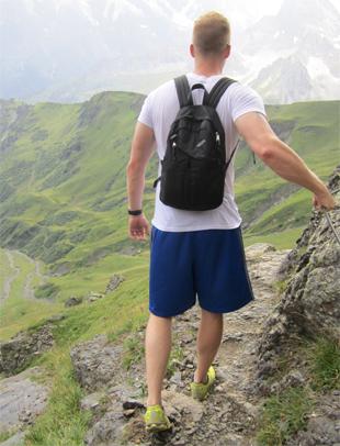 hiking down the Schilthorn in Switzerland