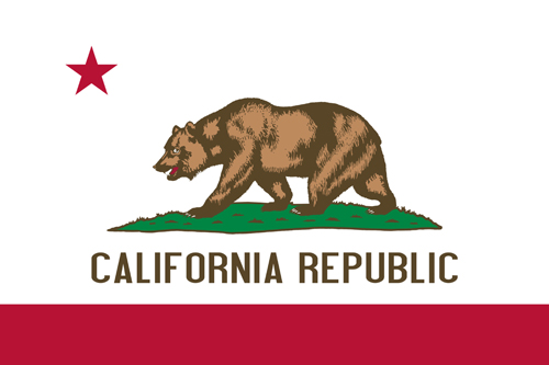 California state flag of America, isolated on white background.