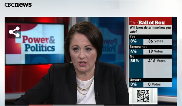 Screen shot from CBC program POwer & Politics - click image to watch full episode
